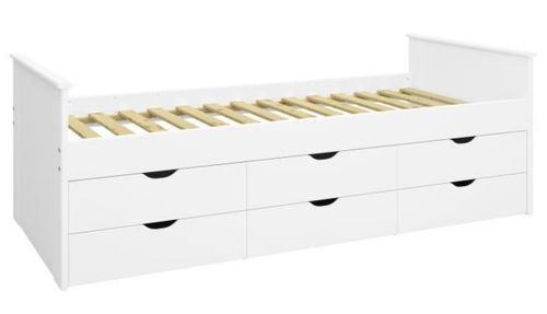 lit enfant avec 6 tiroirs de rangement laque blanc 71 8 x 208 x 99 3 cm pegane