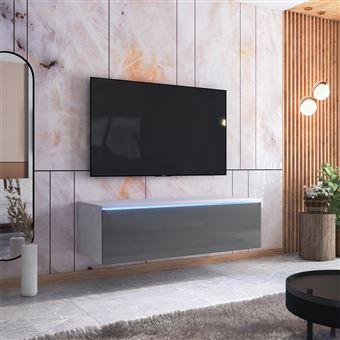 meuble tv skylara 140 cm blanc mat gris brillant style moderne avec led
