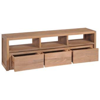kkmoon meuble tv armoire laterale buffet bois massif de teck et finition naturelle avec 3 compartiments et 3 tiroirs 120x30x40cm