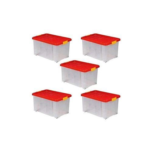 lot de 5 boites de rangement plastique transparente sur roulette avec couvercle bac a superposer ou empiler 55l 60x40x30 cm