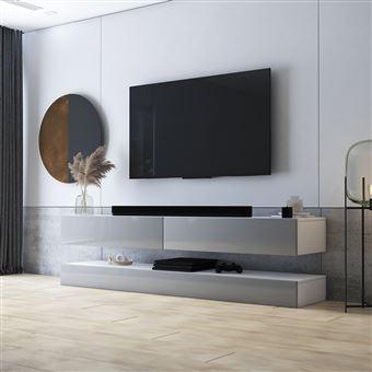 meuble tv suspendu meuble de salon mural hylia 140 cm blanc mat gris brillant sans led style moderne