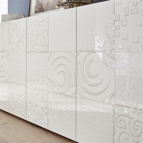 buffet blanc laque 240 cm design elma 4 portes l 241 x p 42 x h 84 cm