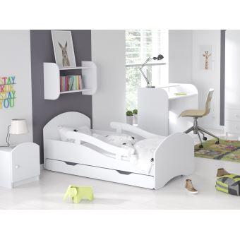 lit enfant 70x160cm avec matelas sommier barre de securite leo blanc