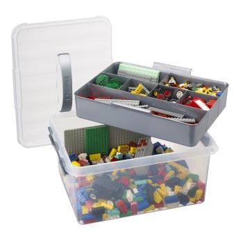 grande boite de rangement multifonctions avec compartiment amovible 15 litres