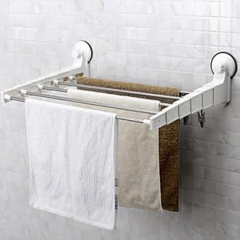 porte serviettes et etagere a 5 barres retractables et crochets avec ventouses puissantes pour la fixation