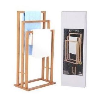 porte serviette en bois bambou 3 bras pour salle de bain