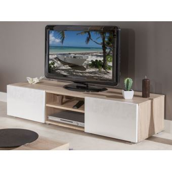 meuble tv 2 niches 2 tiroirs en bois l140xp42xh31cm glossy blanc chene