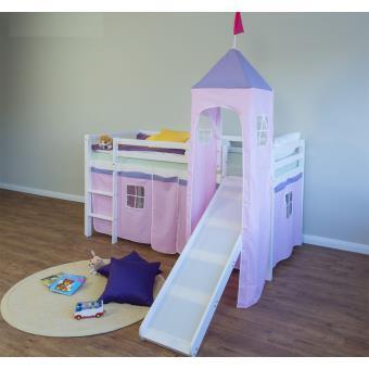 lit enfant superpose en pin massif avec toboggan tour et echelle et rideaux rose clair pegane