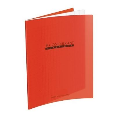 cahier piqures grand carreaux polypropylene 17x22 48p 90g rouge