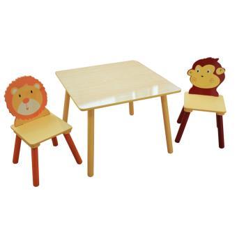 ensemble table et 2 chaises pour enfant en bois dim h 44 x l 60 x p 60 cm pegane