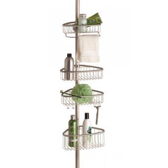 etagere d angle de douche telescopique inox 4 niveaux avec crochets interdesign