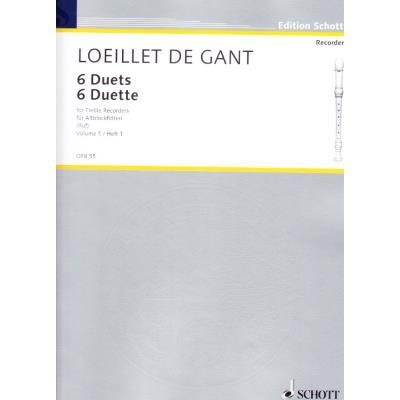 Partitions classique SCHOTT LOEILLET (DE GANT) J.B. - 6 DUETTE - 2 FLUTES A BEC ALTO Flûte à bec