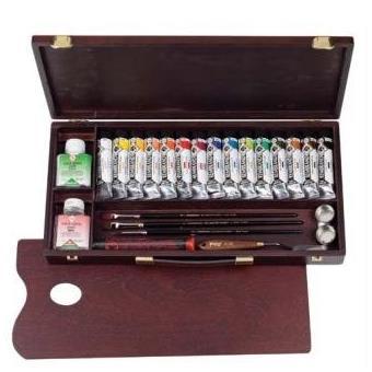 coffret bois 15 t acrylique extra fine et accesssoires professional rembrandt royal talens 18840003