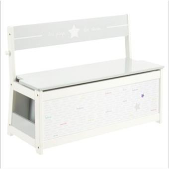 banc coffre a jouets pour enfants en bois mdf coloris blanc l 78 x l 33 x h 56 cm pegane