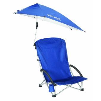 plage pliable avec parasol bleu