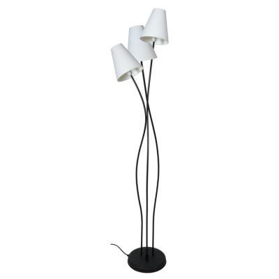 lampadaire 3 pieds en metal avec 3 abat jour conique en coton hauteur 161cm lille blanc blanc