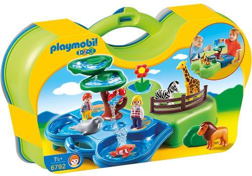 playmobil 1 2 3 6792 zoo transportable avec bassins aquatiques