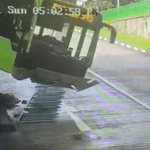 Driver narrowly escapes being crushed by falling bus 💥💥