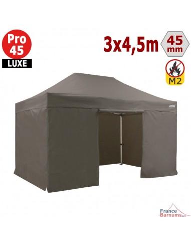 barnum pliant tente pliante alu pro 45 luxe m2 3mx4 5m taupe pack cotes 380gr m