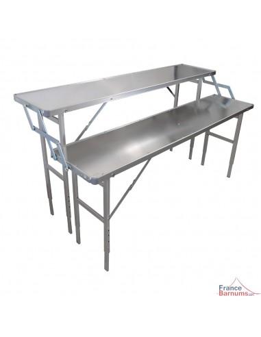 table presentoir pliante 1 50m 2 niveaux en aluminium