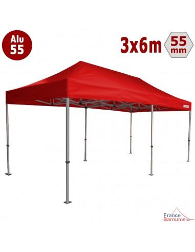 tente pliante alu 55 3mx6m rouge avec bache de toit en polyester 320gr m