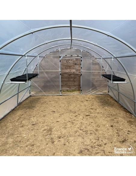 etagere de culture suspendue avec 4 bacs pour serre tunnel de jardin