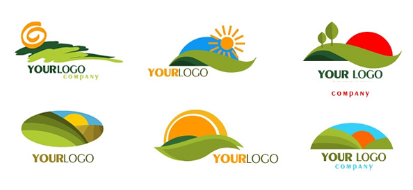 Green Mountain Logo Templates with Rising Sun