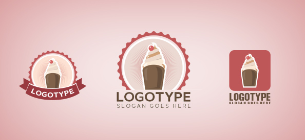 Ice Cream in a Circle Logo Template