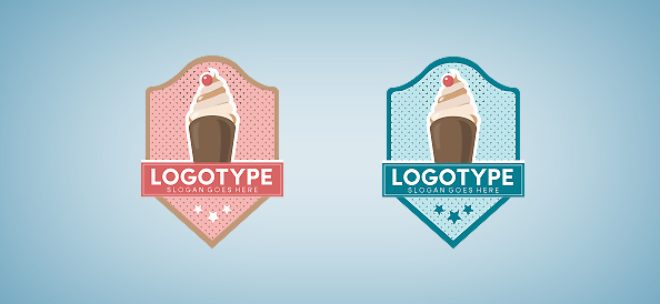 Ice Cream in a Badge Logo Template