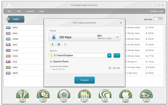 Encode files to MP3 with Freemake