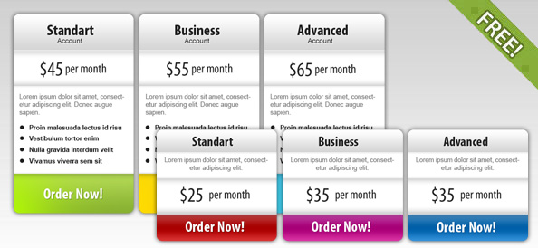 Free PSD Price Box Templates