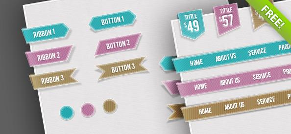 Free Web UI Set – Navigations, Buttons, Circles and Ribbons
