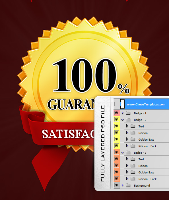 Fully Layered Satisfaction Guaranteed PSD Badges