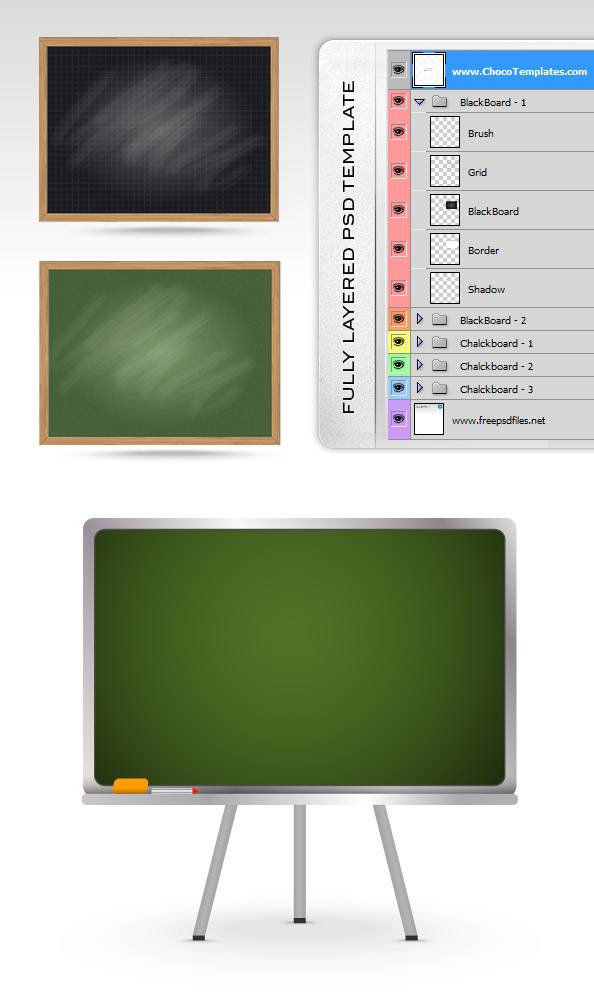 Fully Layered PSD Blackboard Templates