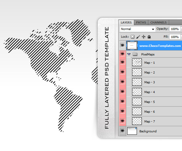 Fully Layered Pixel World Maps PSD