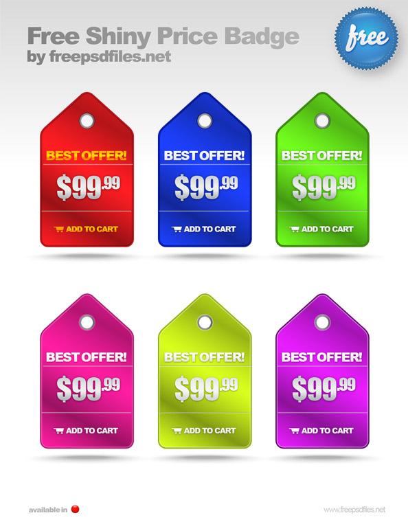Shiny Price Badge PSD Templates Free PSD Files