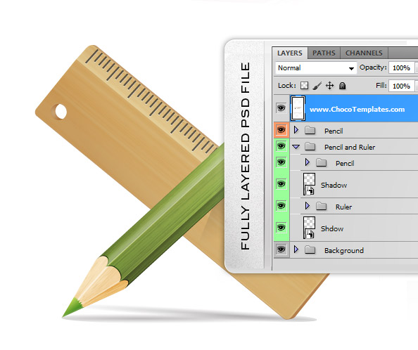 Fully Layered PSD Drawing Tools Pencil and Ruler Icons