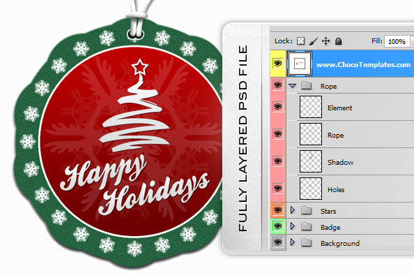Fully Layered Label PSD Template for Holiday Greetings