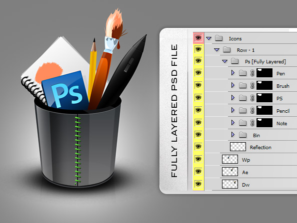 Fully Layered PSD Free Icons for Designers