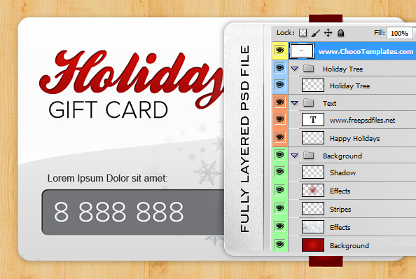 Fully Layered Holiday Gift Card PSD
