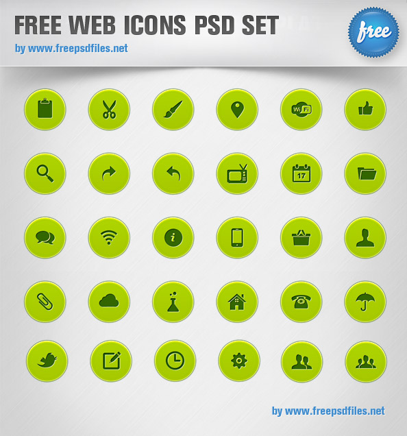 Web Icons PSD Set Preview