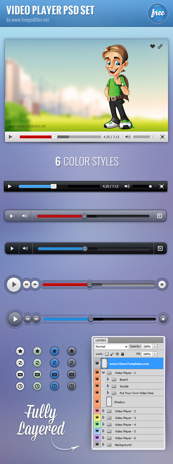 Video Player PSD Set Preview