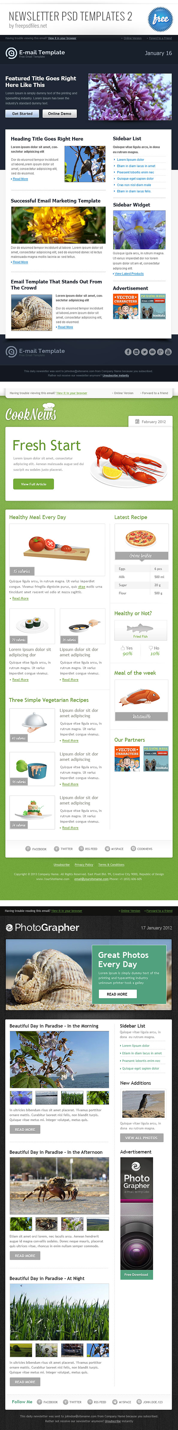 Newsletter PSD Template Set