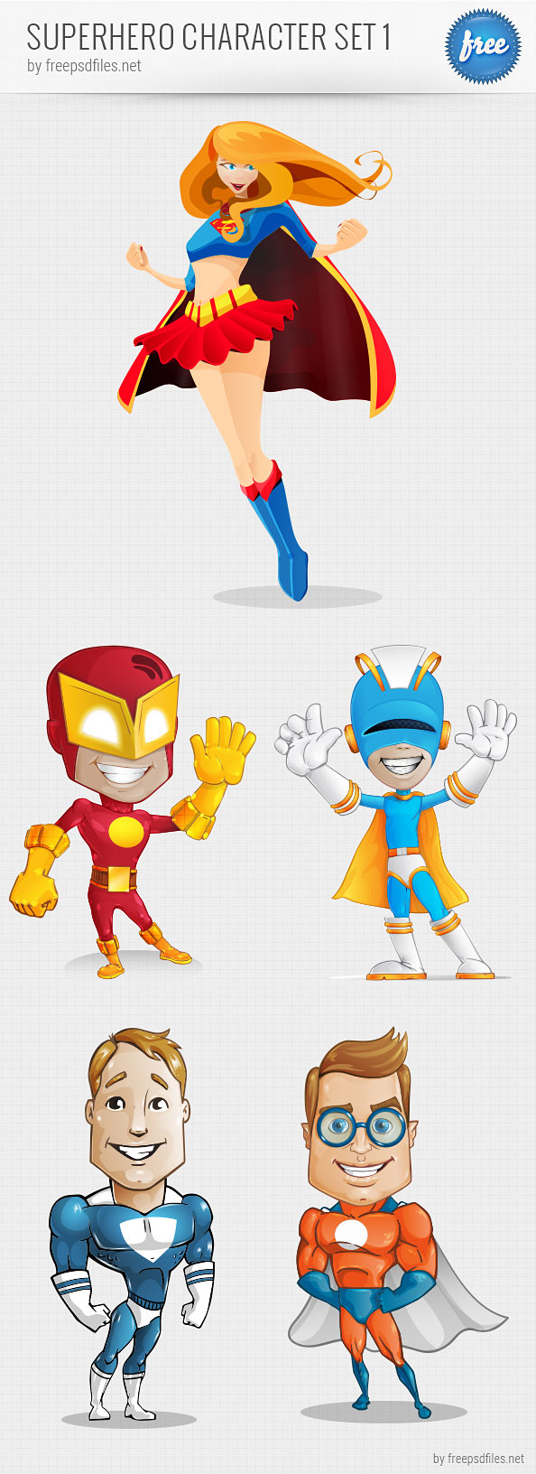 superhero vector character set free psd files