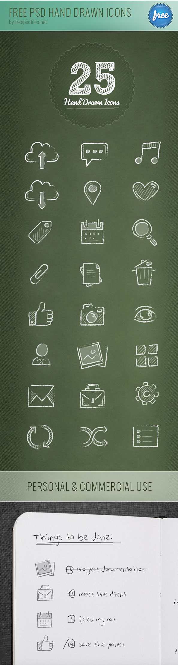 Free PSD Hand Drawn Icons Preview