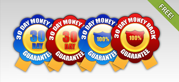 4 Free 30 Day Money Back Guarantee Badges