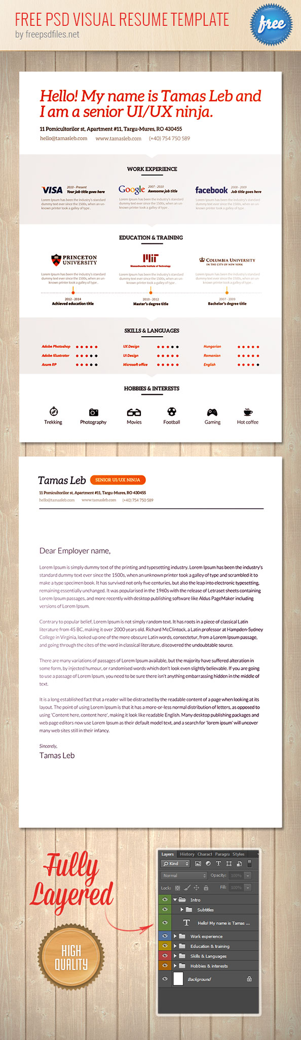 Free Psd Visual Resume Template Made By Tamás Léb. This Is A Creative CV  That Will Surely Catch The Eye Of Many. Go Ahead And Download Now For Free!
