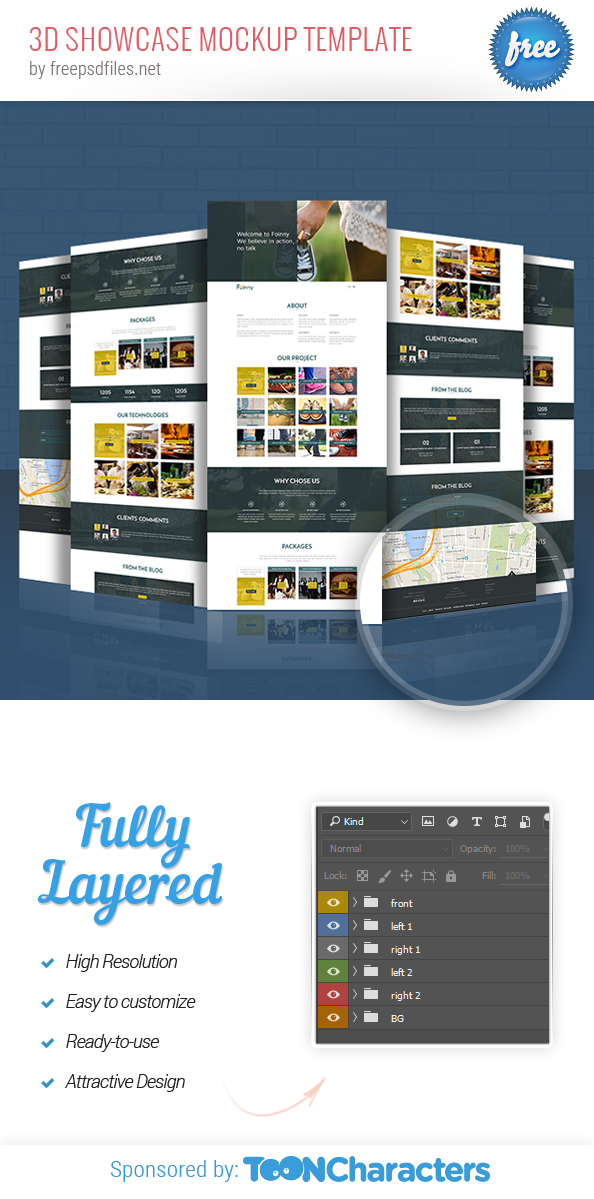 3D Showcase Mockup Template