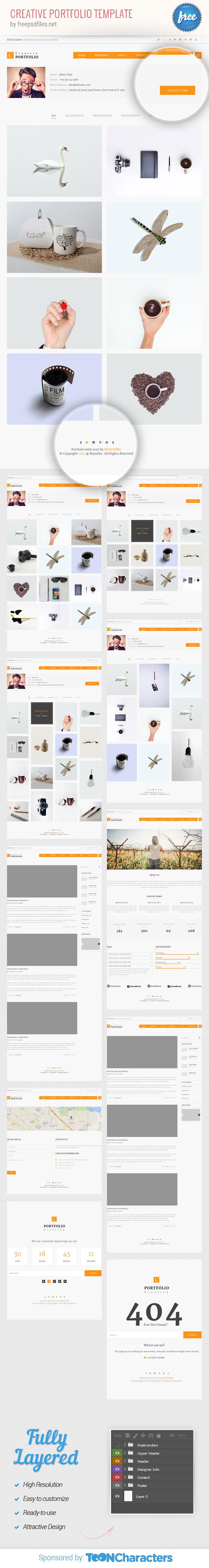 Free PSD Creative Portfolio Template
