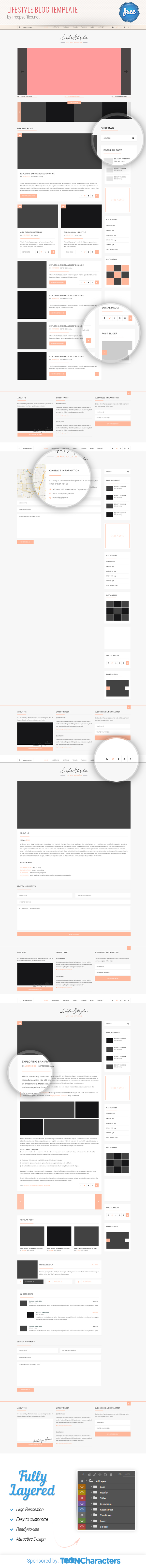 free psd lifestyle blog template